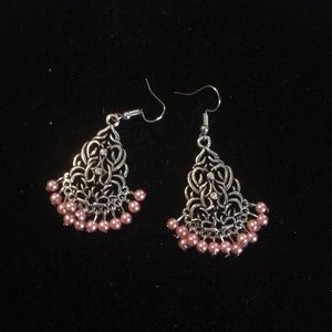 Jewelry - Pink and silver antique earrings